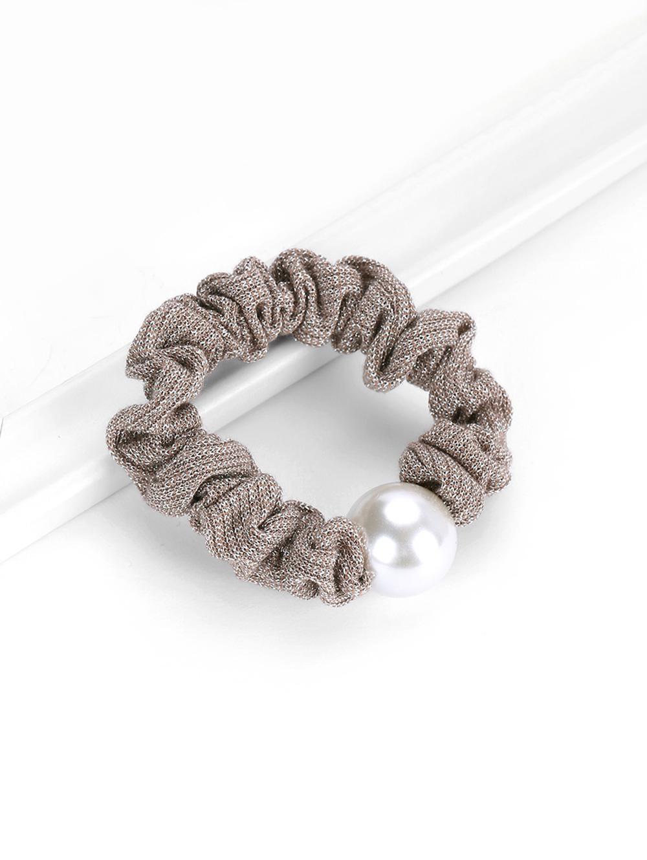 Faux Pearl Elastic Metallic Hair Tie