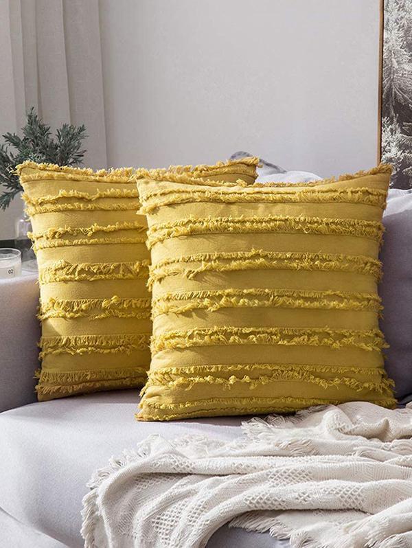 Striped Fringe Square Sofa Pillowcase