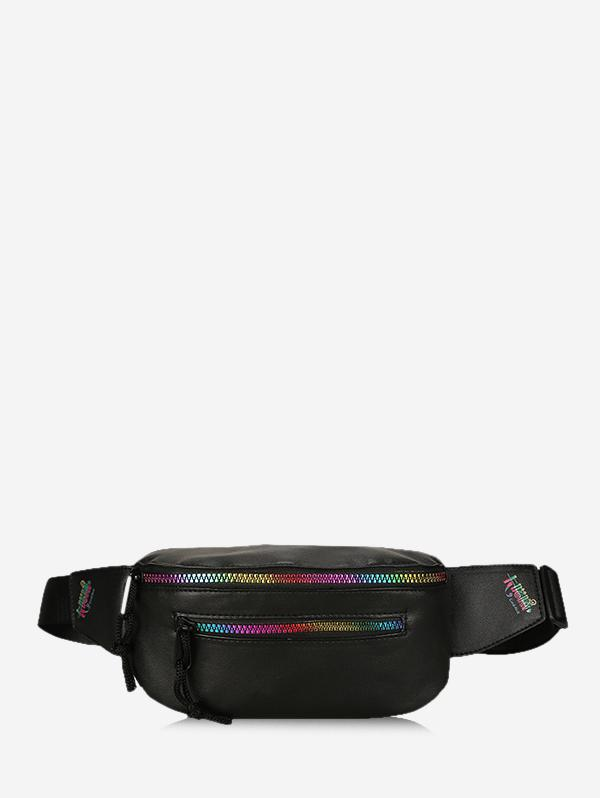 Colorful Zipper Leather Chest Bag