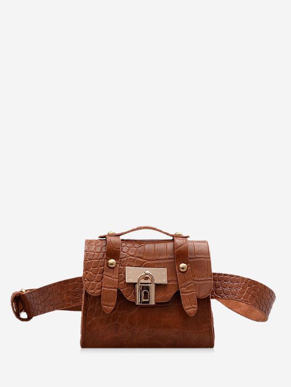 Textured Lock Mini Crossbody Bag