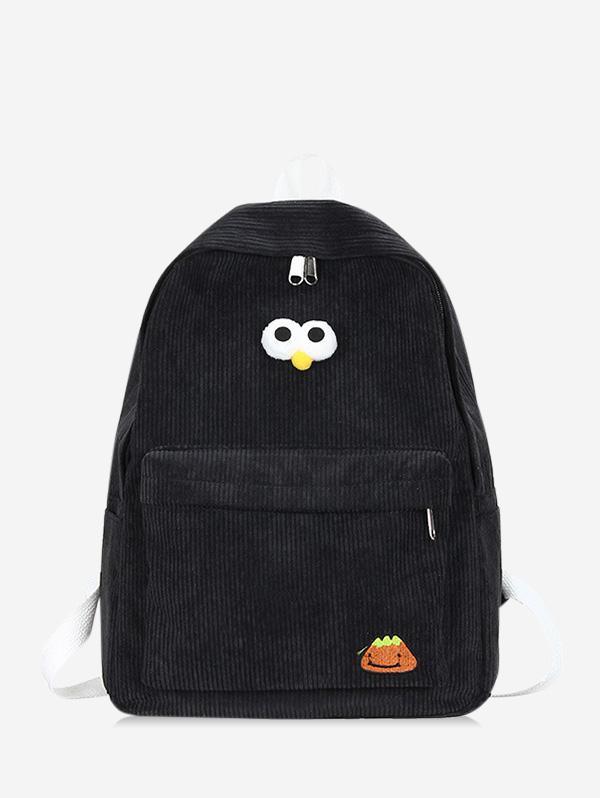 Cartoon Eyes Corduroy Solid Backpack