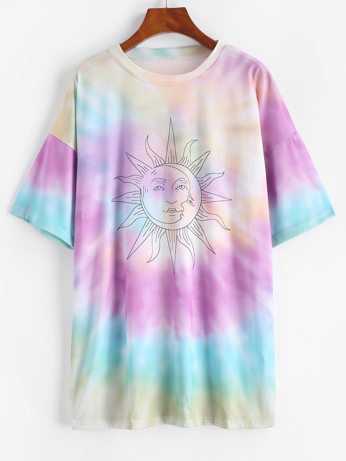 Sun Graphic Tie Dye Boyfriend Tee