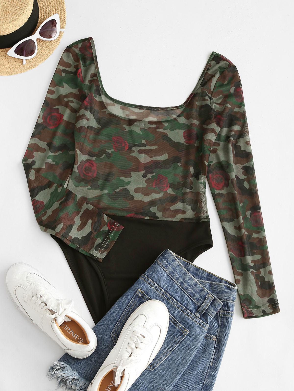 ZAFUL Contrast Camouflage Sheer Mesh Bodysuit
