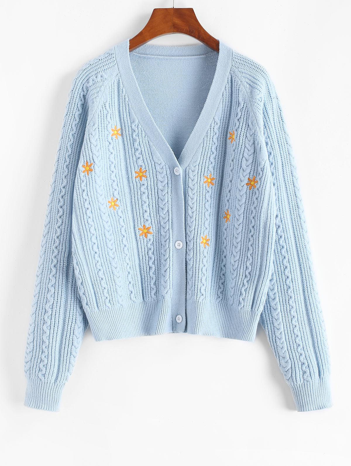 ZAFUL Button Up Cable Knit Floral Embroidered Cardigan