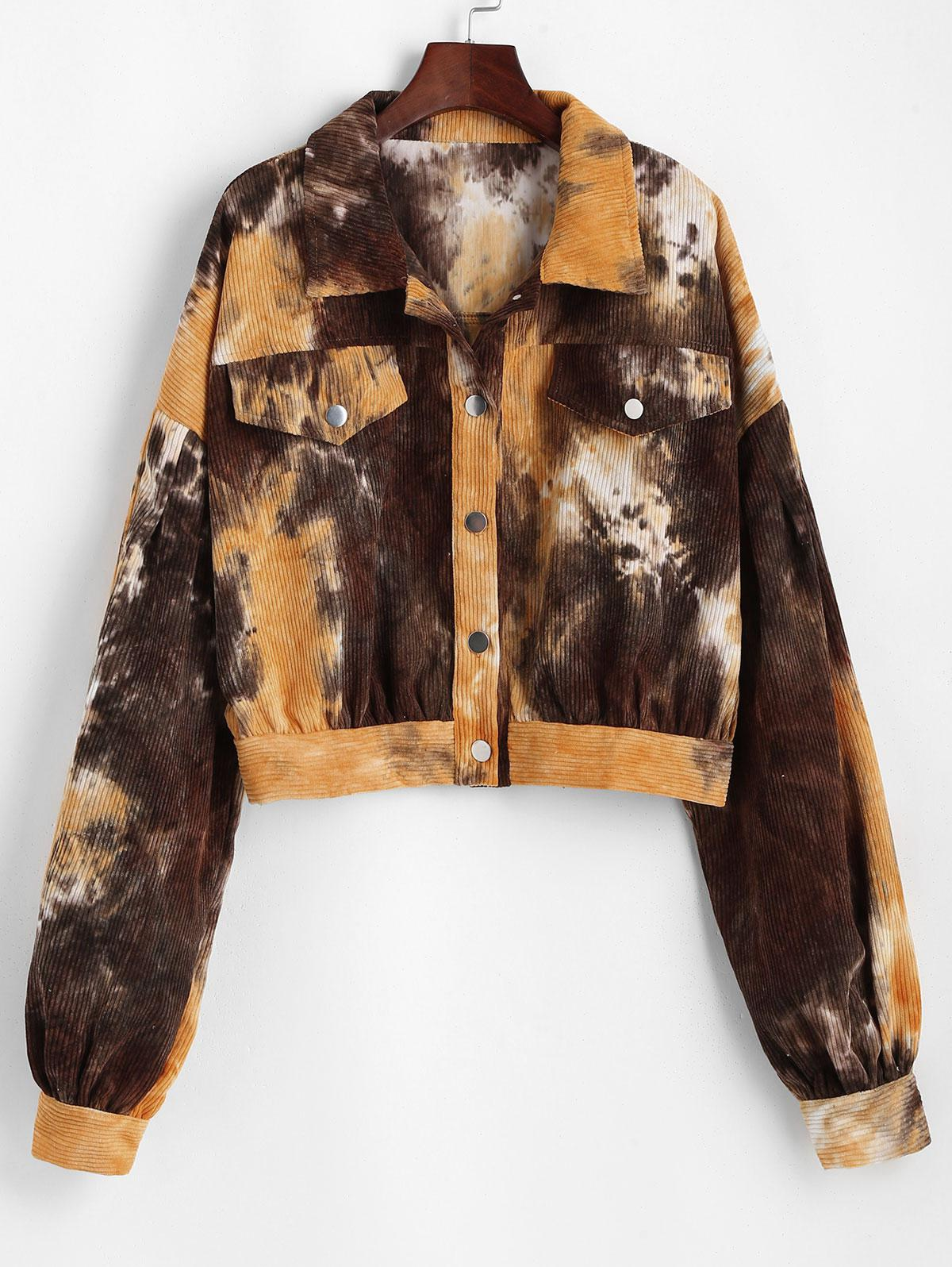Button Up Tie Dye Corduroy Jacket