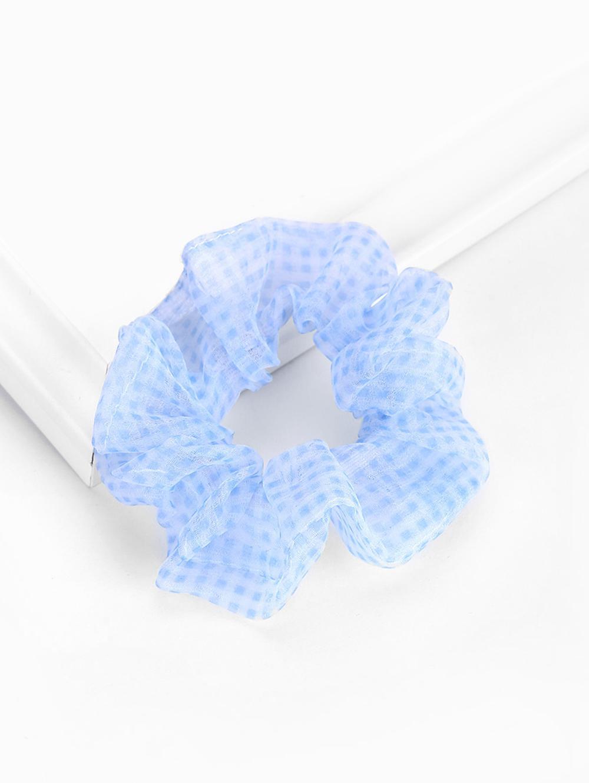 Plaid Print Elastic Gauze Scrunchy