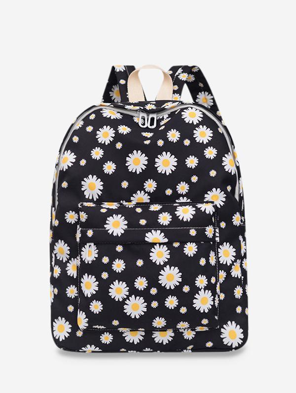 Daisy Floral Print Nylon Top Handle Backpack