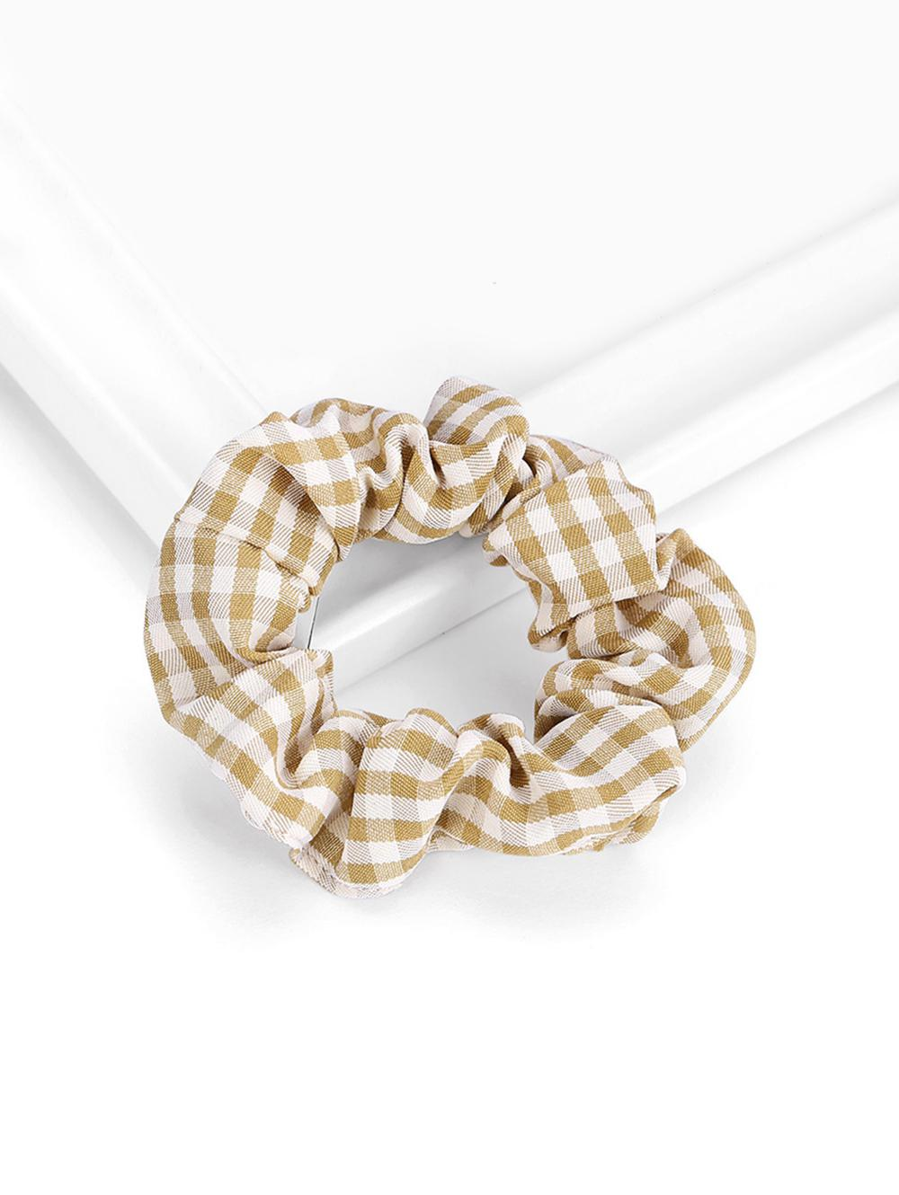 Plaid Pattern Stretch Fabric Scrunchy