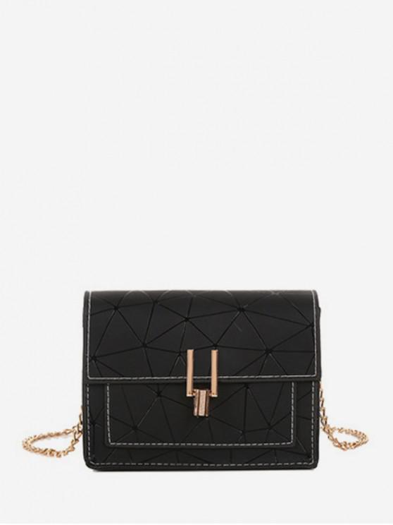 women's Geometric Print Flap Chain Crossbody Bag - BLACK