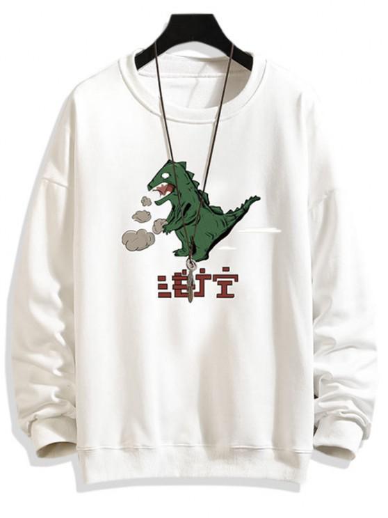 漫画の恐竜の印刷ドロップショルダースウェットシャツ - 白 S