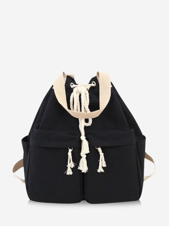 hot Multi-pocket Canvas Drawstring Backpack - BLACK