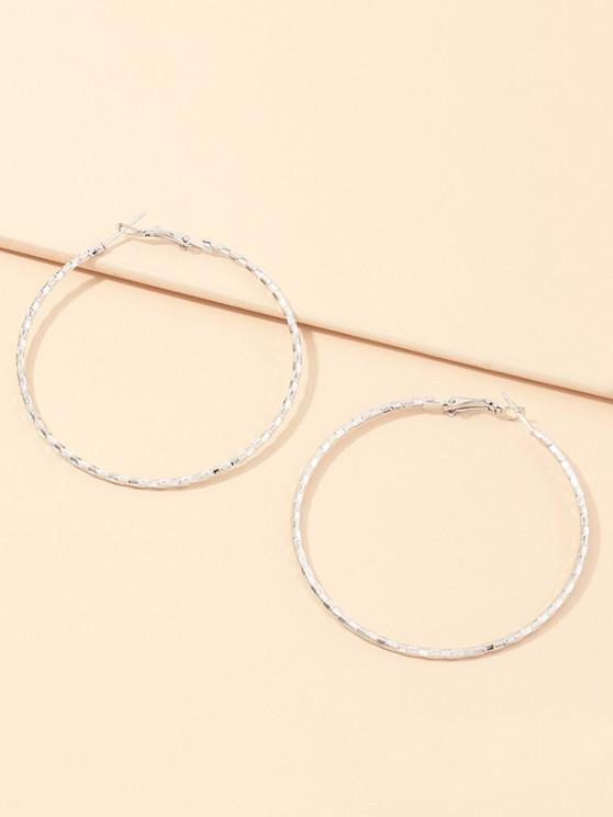 hot Alloy Geometric Hoop Earrings - SILVER