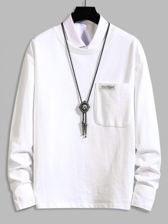 Camiseta de Manga Larga con Parche y Bolsillo - Blanco 3XL