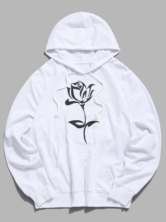 trendy Floral Graphic Pouch Pocket Pullover Hoodie - WHITE XS