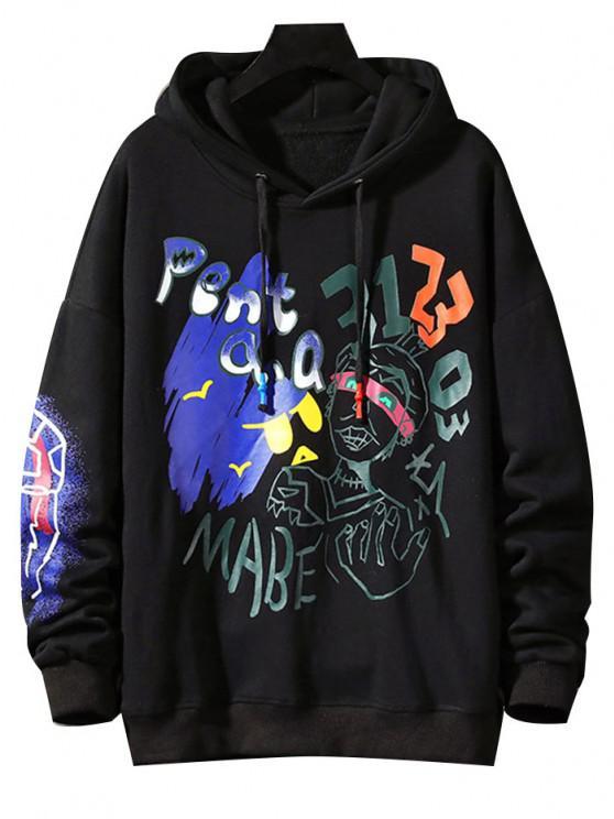 women Funny Graphic Print Streetwear Hoodie - BLACK 3XL