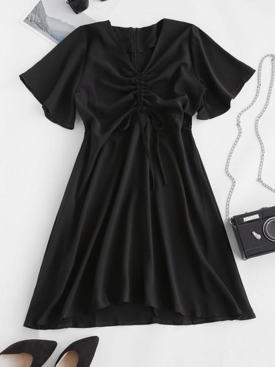 outfit Cinched Tie A Line Casual Dress - BLACK L