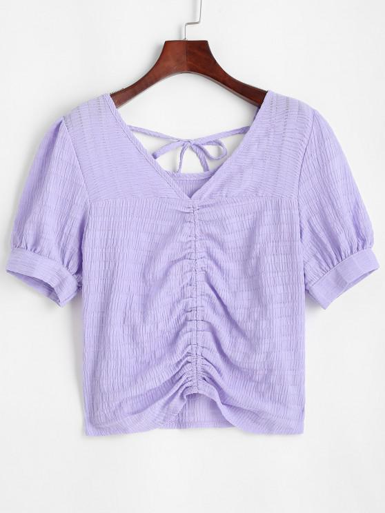 Glitter Textured Ruched Tie Casual Blouse - أرجواني S