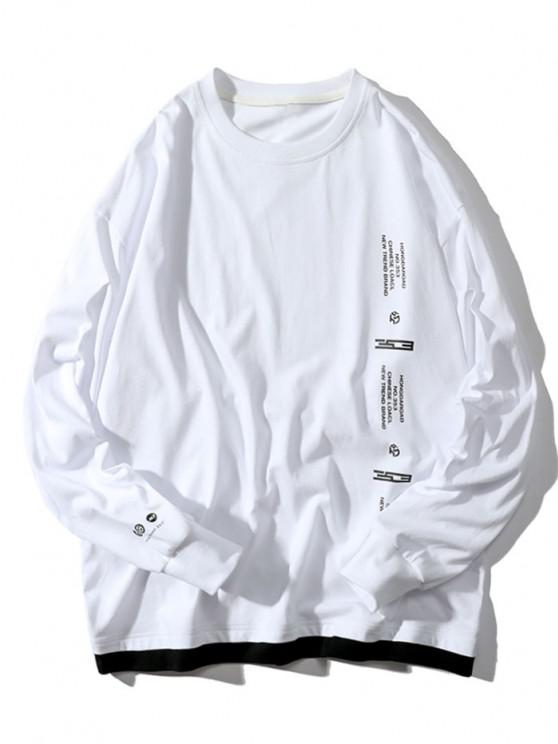 women Letter Graphic Print Contrast T-shirt - WHITE M