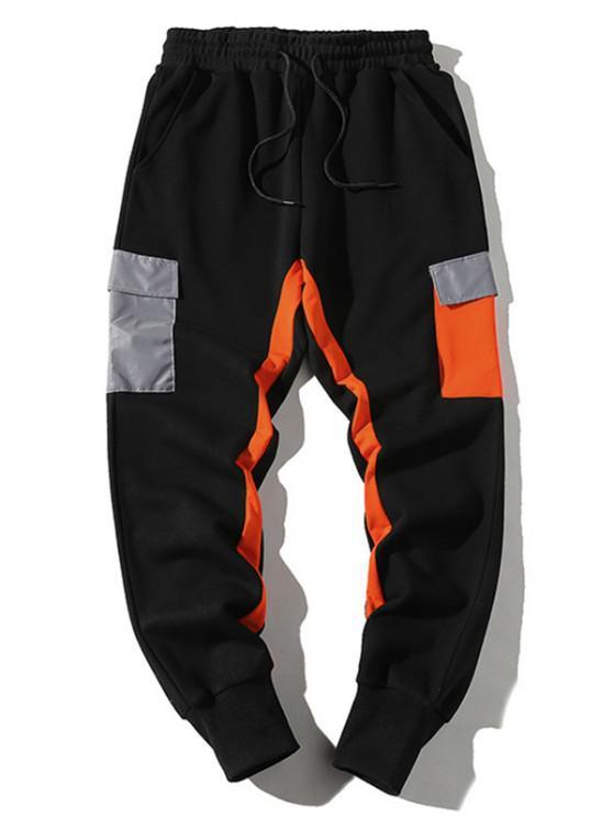 womens Drawstring Reflective Pocket Contrast Sweatpants - BLACK XS