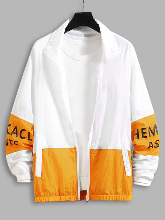 Letter Print Zip Up Contrast Sun-protective Jacket - برتقالي قاتم 3XL