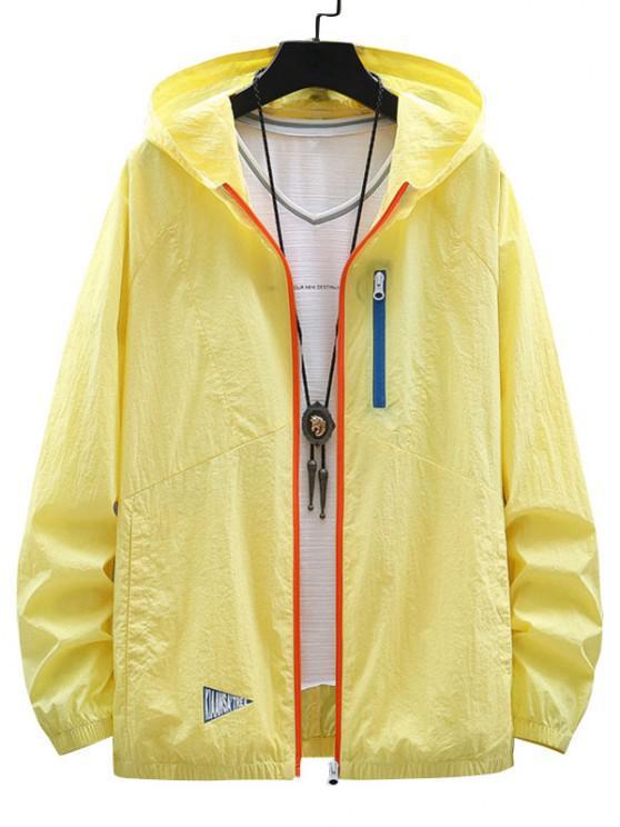 Colorblock Zip Up Sun Proof Hooded Jacket - ذرة صفراء 4XL