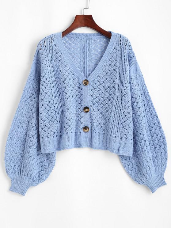Openwork Lantern Sleeve Button Up Cardigan - أزرق فاتح L