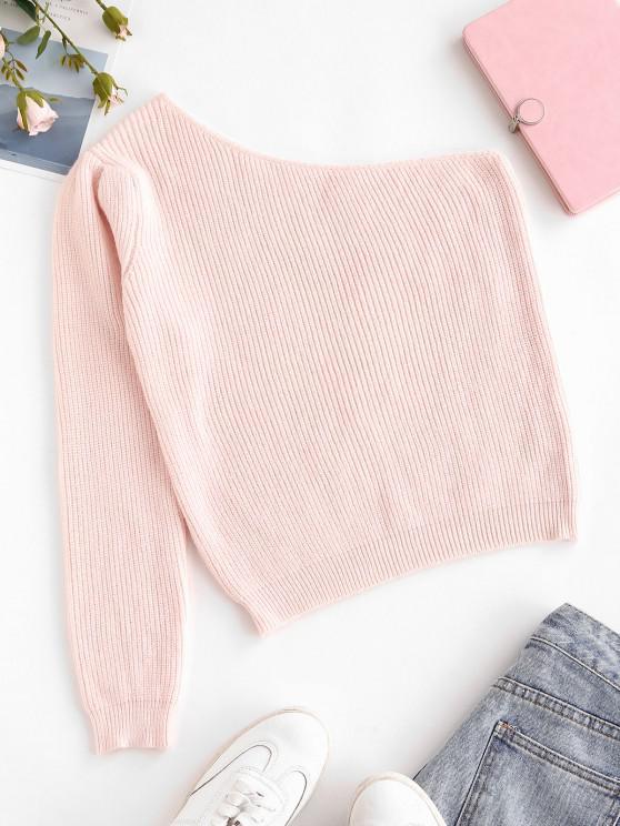 fancy One Shoulder Plain Jumper Sweater - LIGHT PINK ONE SIZE