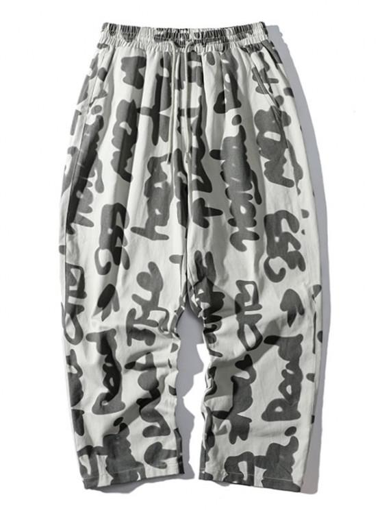 Abstract Characters Print Casual Straight Pants - أبيض L