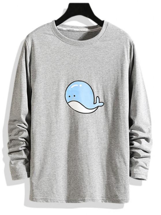 T-shirt de Manga Comprida com Padrão de Golfinho - Cinzento XL