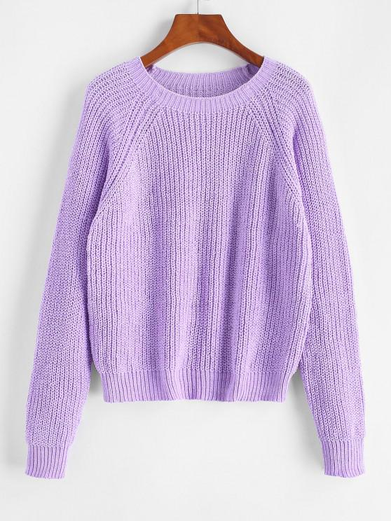 ladies ZAFUL Pullover Raglan Sleeve Chenille Sweater - PURPLE ONE SIZE