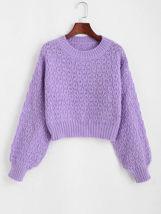 Solid Crew Neck Chunky Sweater - ضوء ارجواني