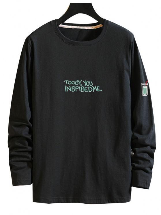 T-shirt Boisson Lettre Imprimée à Manches Longues - Noir XL