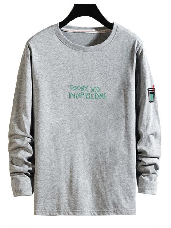 Camiseta Manga Larga Estampado Étnico - Gris M