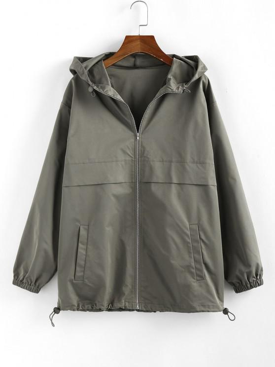unique ZAFUL Hooded Toggle Drawstring Zipper Jacket - ARMY GREEN L