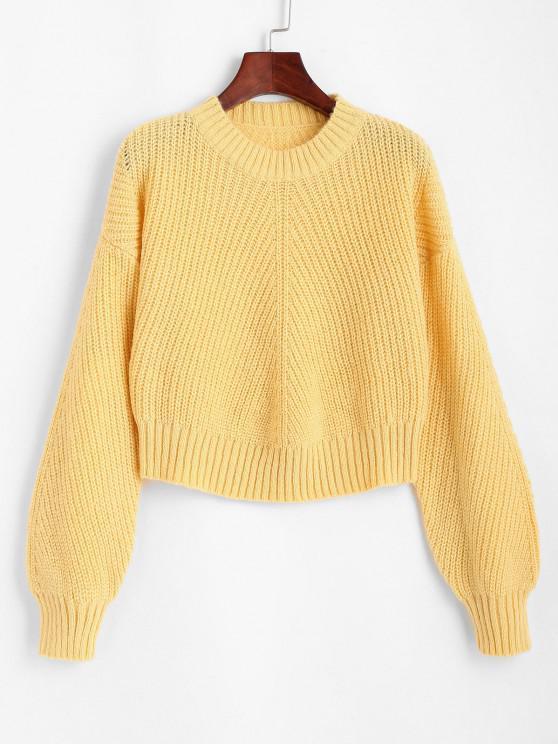 Crew Neck Plain Drop Shoulder Sweater - الأصفر حجم واحد