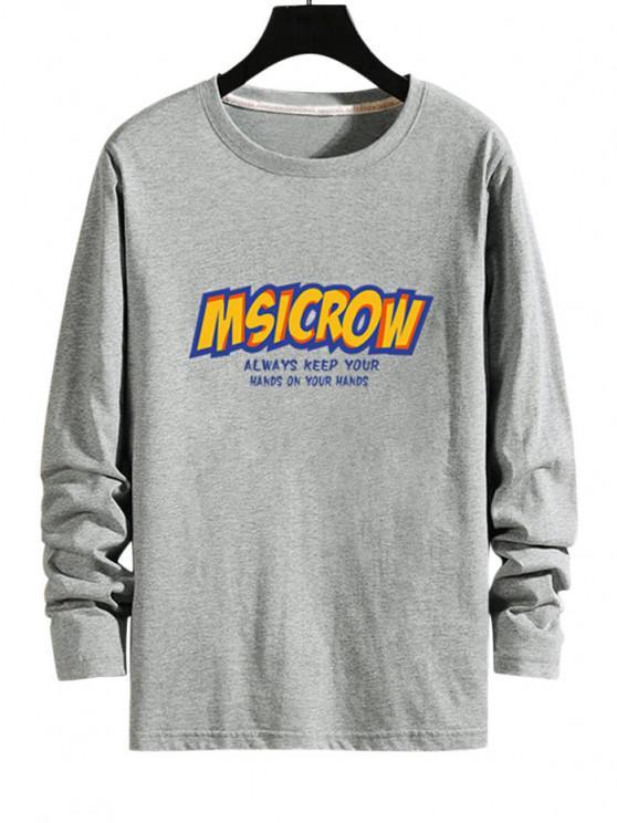T-shirt Lettre Graphique à Manches Longues - Gris L