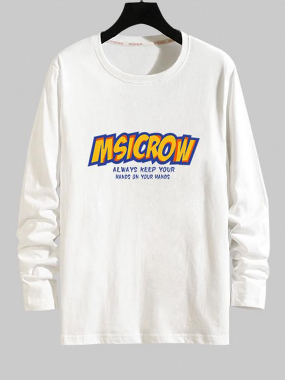 latest Letter Graphic Long Sleeve Tee - WHITE S