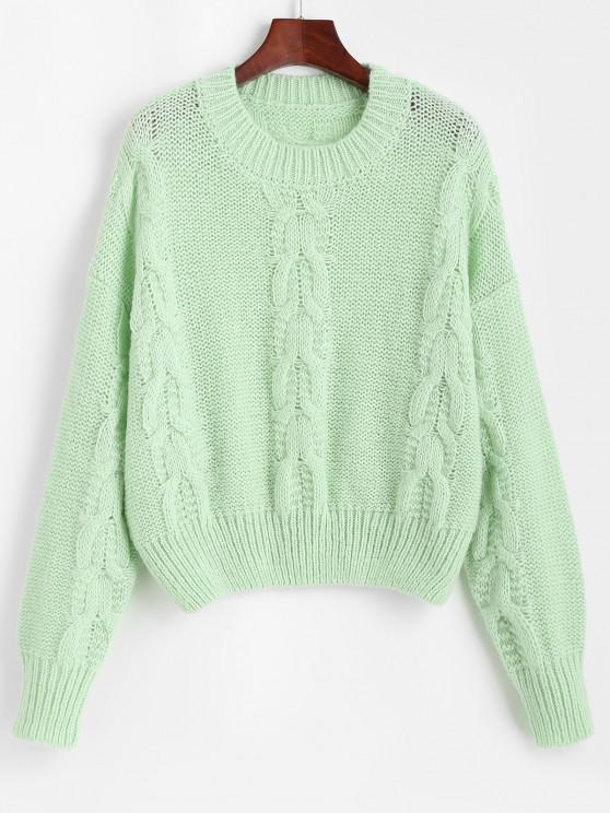 Loose Crew Neck Cable Knit Sweater - اخضر فاتح حجم واحد