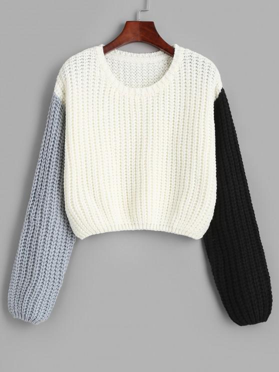 online Contrast Ribbed Cropped Sweater - WHITE ONE SIZE