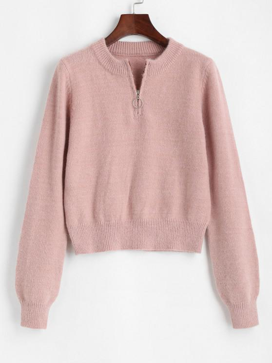 O-ring Quarter Zipper Pullover Sweater - خنزير وردي حجم واحد