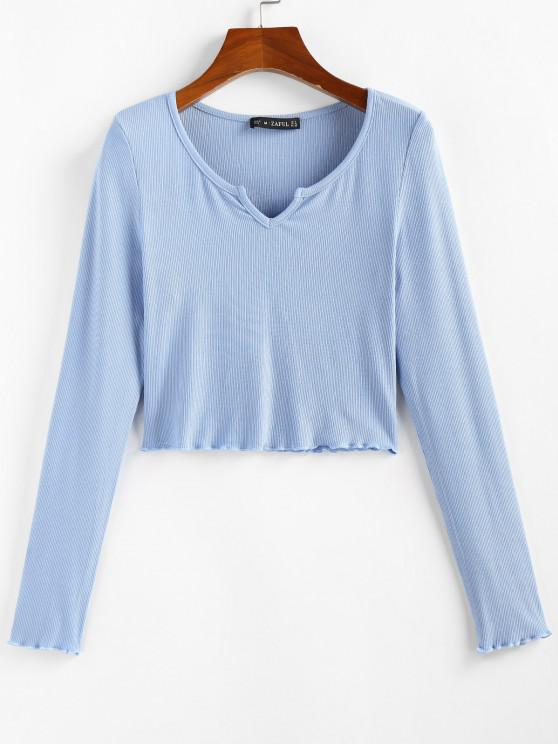 lady ZAFUL Lettuce Trim Notched Crop Solid Tee - LIGHT BLUE S