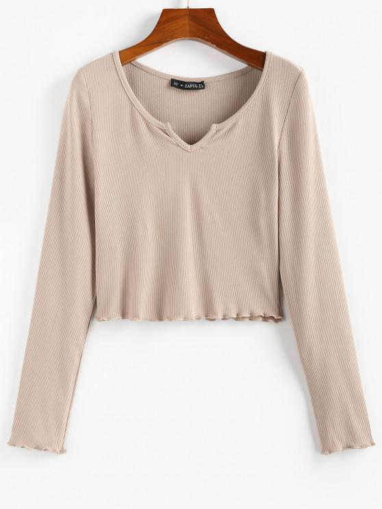 lady ZAFUL Lettuce Trim Notched Crop Solid Tee - LIGHT COFFEE M