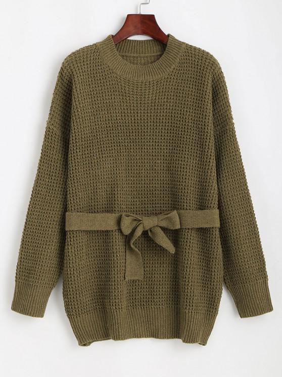 Chunky Knit Drop Shoulder Belted Tunic Sweater - أخضر حجم واحد