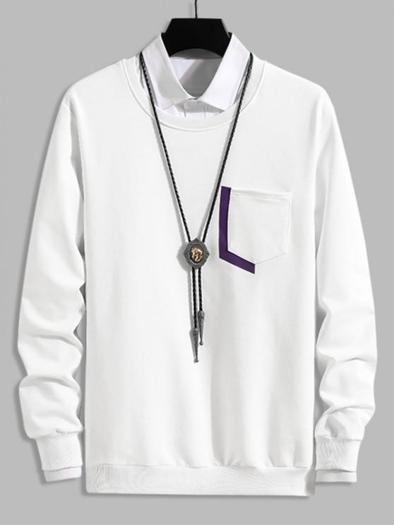 fancy Letter Print Pocket Crew Neck Lounge Sweatshirt - WHITE XS