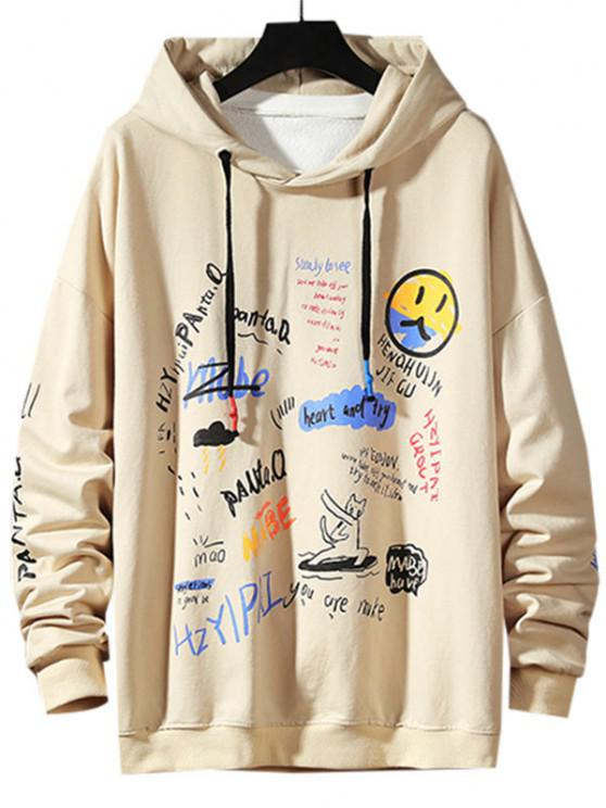 sale Letter Graffiti Drop Shoulder Hoodie - KHAKI M