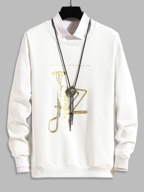 Music Horn Graphic Crew Neck Lounge Sweatshirt - أبيض XS