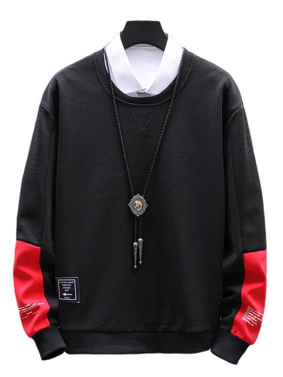 fancy Letter Graphic Colorblock Sweatshirt - BLACK XS