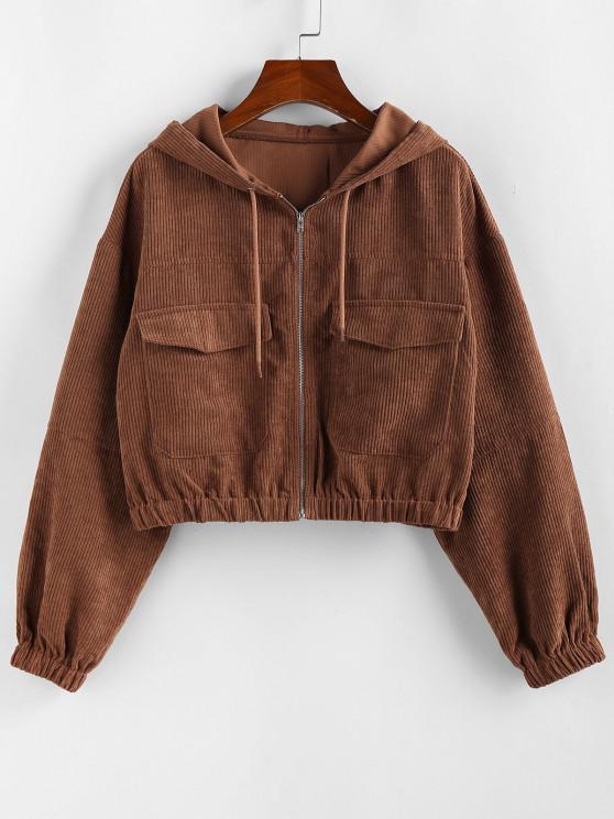 sale ZAFUL Corduroy Drop Shoulder Pocket Hooded Jacket - CHESTNUT M