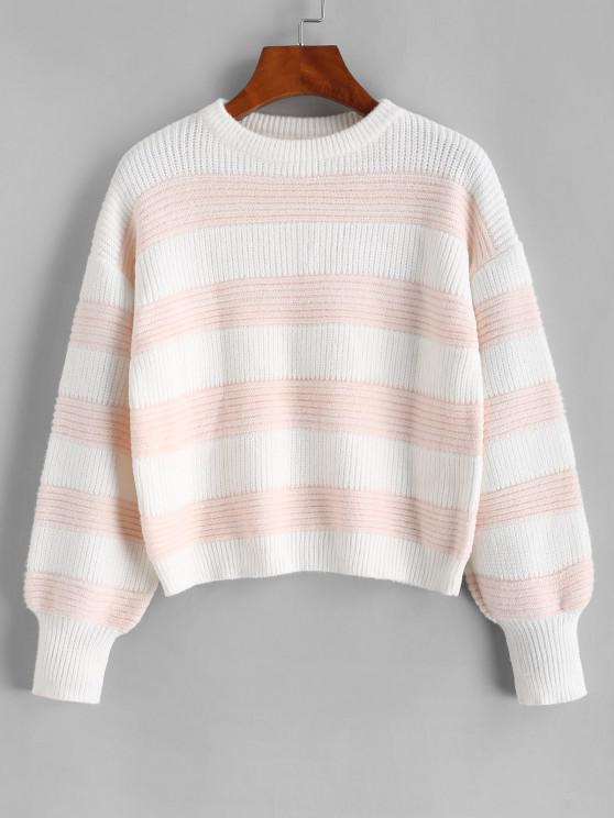 ladies ZAFUL Colorblock Stripes Crew Neck Sweater - LIGHT PINK M