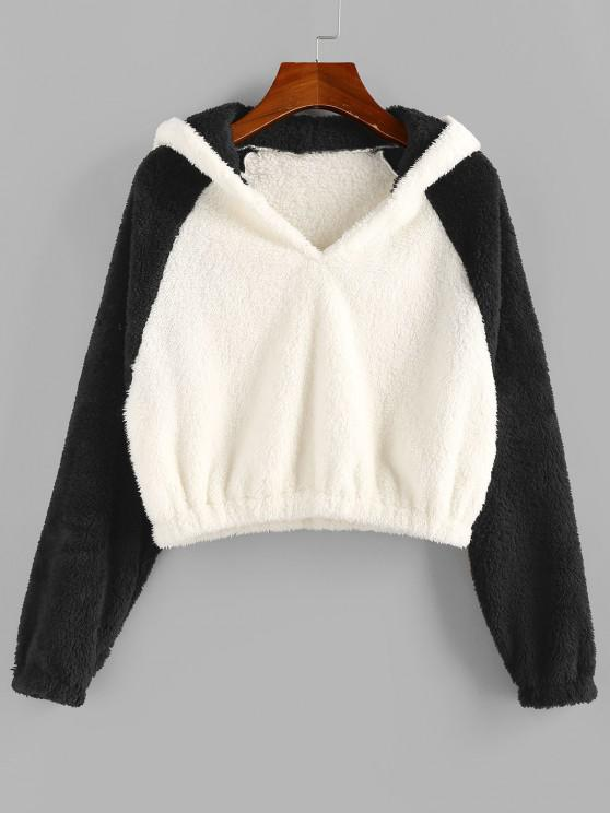 shop ZAFUL Bicolor Fluffy Raglan Sleeve Hoodie - MULTI-A XL